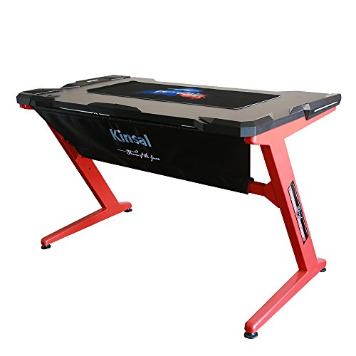 Kinsal-Gaming-Desk-Computer-Z-Shaped-Desk-Table-With-Fighting-LED-Ambience-Lighting-Racing-Table-E-sports-Durable-Gaming-Desk-Ergonomic-Comfortable-PC-Desk-RedBlack