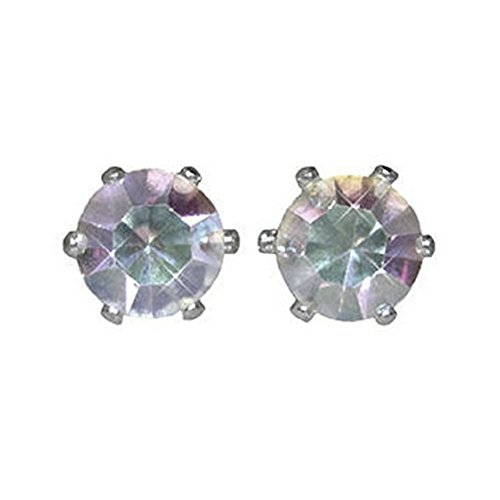 6 Pairs of Surgical Stainless Steel Aurora Borealis Crystal CZ Stud Earrings 3,4,5,6,7 & 8 - Aurora Mall Shops