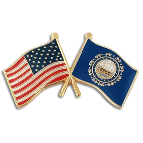 (PinMart New Hampshire and USA Crossed Friendship Flag Enamel Lapel Pin)