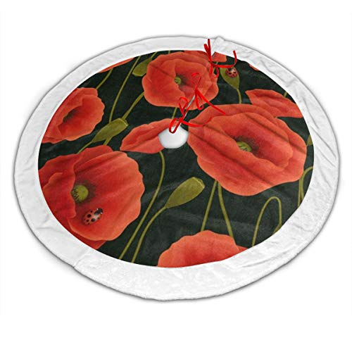 Christmas Tree Decorations Skirt Romantic Poppy Flower Ladybug Designer Large Plush Faux Fur Xmas Tree Skirts Mat for Holiday Party Home Ornaments 48inch Indoor Outdoor (Skirt Tree Christmas Stewart Martha Pattern)