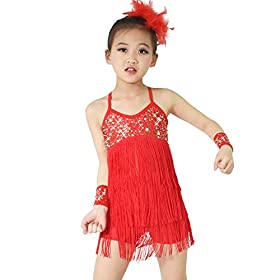 - 41mctA1yPxL - MiDee Latin Dress Dance Costume 3 Colors Camisole Sequins Tassels Skirt for Girls