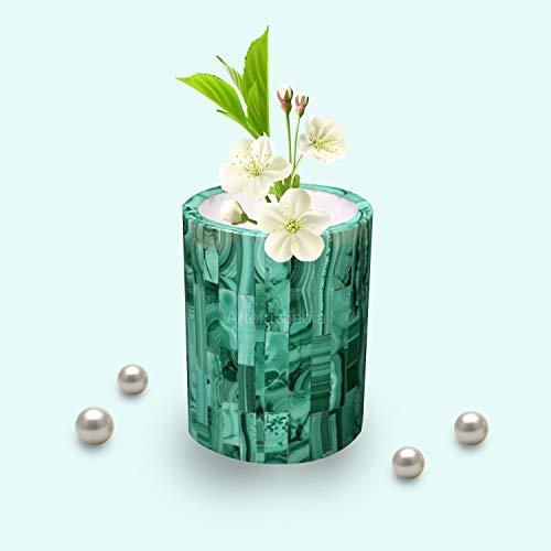 (Artefactindia Unique White Marble Flower Vase Inlaid with Malachite Stone Perfect Art Piece for Home Décor)
