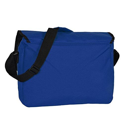 Retro Shoulder Messenger Bag/ Umhängetasche/ Schultasche mit Fächern und Tragegürtel - Royal-Blau - Mit Veri ® Logo