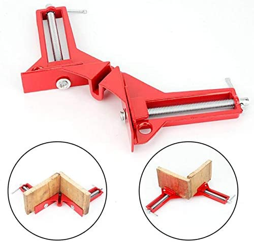 多機能90度直角クリップ額縁コーナークランプフィッシュタンクDIYコーナーホルダークイック固定木工ツール-レッド&シルバー