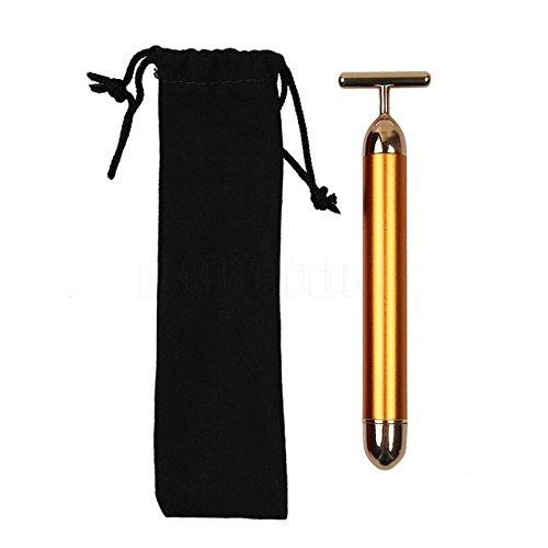 Bag King Coupons (Face Massager - Facial Massage Tool - Slimming Face 24k Gold Vibration Facial Beauty Roller Massager Stick Lift Skin Tightening Wrinkle Bar Face With Black Bag)
