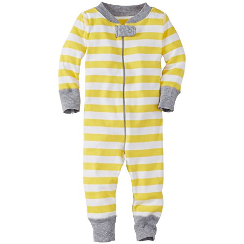 Hanna Andersson Baby Night Night Baby Sleepers In Pure Organic Cotton, Size 50 (0-6 Months), Warm Sun/White