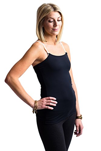 - Nursing Tank Top - Perfect Breastfeeding Undershirt, Black Med