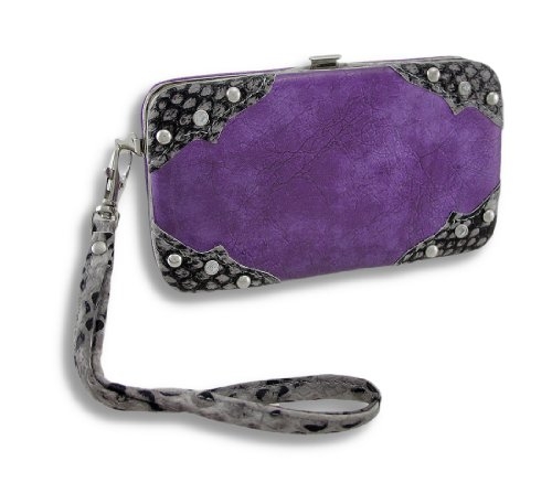 Glossy Vinyl iPhone 5/5s Wallet Wristlet with Snakeskin Trim
