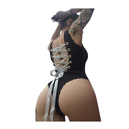 TANLNAG Sexy Women Backless Jumpsuit Sleeveless Swimwear Ladies Bodysuit Bikini Back Strap Jumpsuit Black