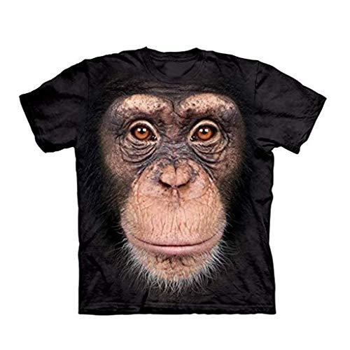 YOMXL Men's Big Face Baby Orangutan T-Shirt Animal Monkey 3D Printed T-Shirts Summer Casual Tee Tops Black