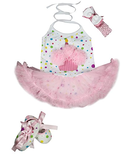 Petitebella Cupcake Rainbow Dots Halter Neck Bodysuit Pink Tutu Shoes Nb-24m (0-3 Months) (Baby Cupcake Costumes)