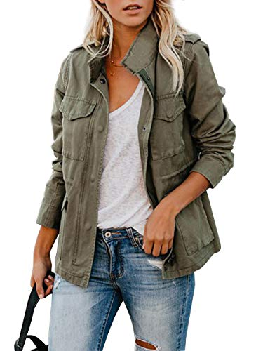 CA Mode Women's Army Green Stand Collar Jackets Zipper Closure Outerwear with Four Pockets