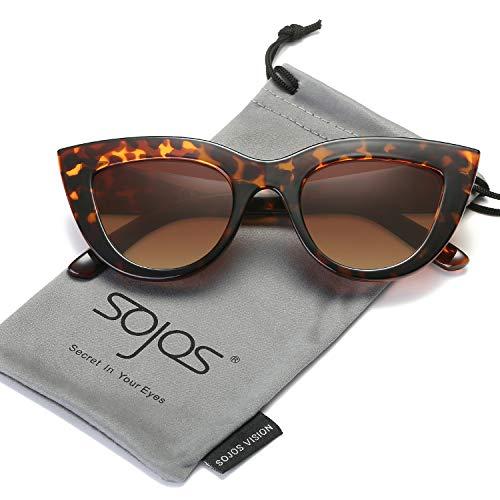 Frame Tortoise Brown (SOJOS Retro Vintage Cateye Sunglasses for Women Plastic Frame Mirrored Lens SJ2939 with Tortoise Frame/Brown Lens)