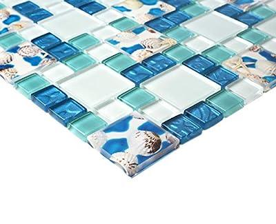 TST Mosaic Tiles Glass Conch Tiles Beach Style Sea Blue Glass Tile Glass Mosaics Wall Art Kitchen Backsplash Bathroom Design TSTGT370