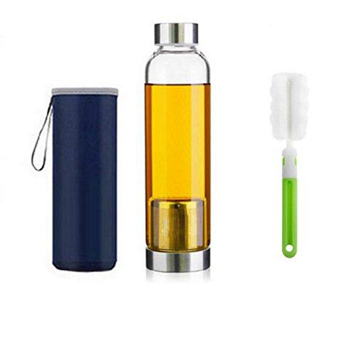 550ml Botella de te de vidrio portatil y con estilo con cesta de filtro de acero inoxidable Tetera de infusion de te Tetera de vidrio portatil (Blue)