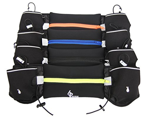 Kết quả hình ảnh cho free trip running waist belt with 2 hydration pockets 7 inch pouch fits for phone keys credit cards waist pack