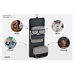 SLEEKO TSA Compliant Hanging Toiletry Travel Bag with Removable Dopp Kit – Stylish Toiletries Organizer for Men and Women (Charcoal)