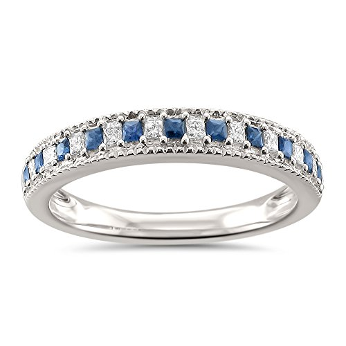 La4ve Diamonds 14k White Gold Princess-Cut Diamond & Blue Sapphire Milgrain Wedding Band Ring (1/3 cttw, H-I, SI2-I1), Size 5