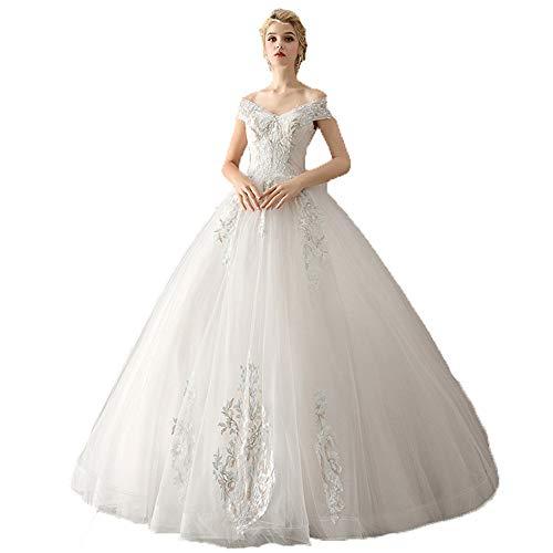 Elegant Wedding Dress Women Off Shoulder Floral Lace Applique Floor Length Ball Gown Wedding Dress Elegant Corset Quinceanera Bridal Dresses Evening Prom Party Dress Evening Dress