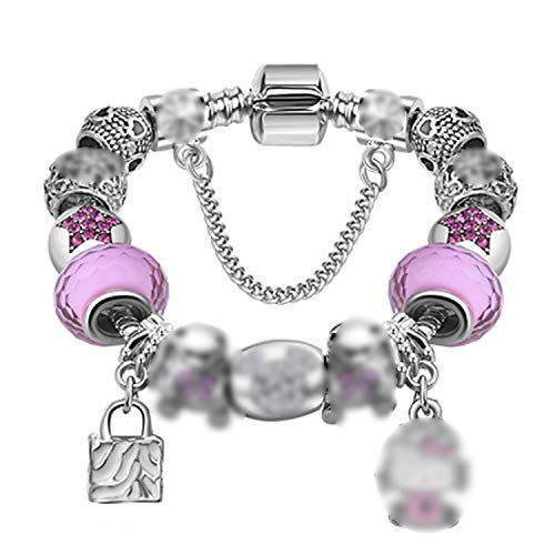 Silver 925 Crystal Four Leaf Clover Bracelet with Clear Glass Beads Charm Bracelet Bangle for Women,PS3184,18cm