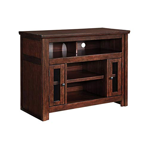 Benjara BM194801 Wooden TV Stand with Two Glass Inserted Door Cabinets and Open Shelves, Brown ()