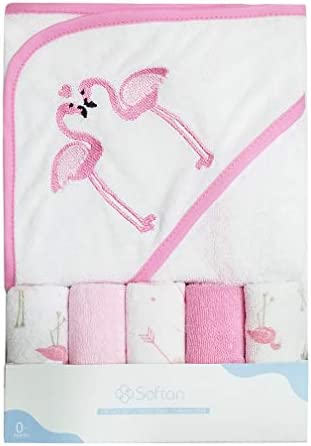 Softan Baby Hooded Bath Towel and Washcloths, Extra Soft and Ultra Absorbent, 6 Pack Gift for Newborn and Infants, flamingos