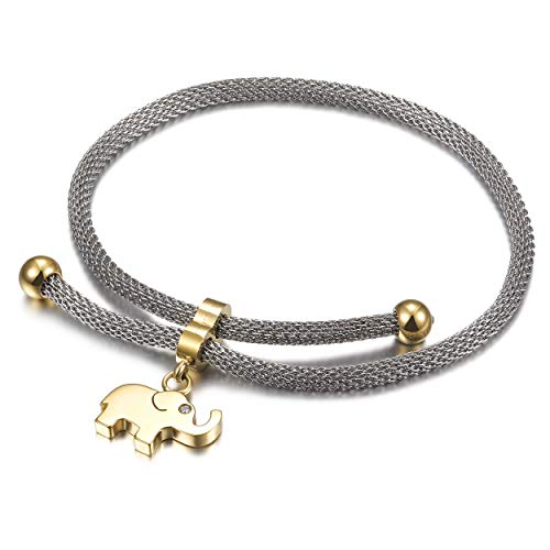CIUNOFOR Charm Bracelet for Women Girls Italian Style Evil Eye CZ Bracelet with Adjustable 10.24 Inches Chain Link(Elephant light)