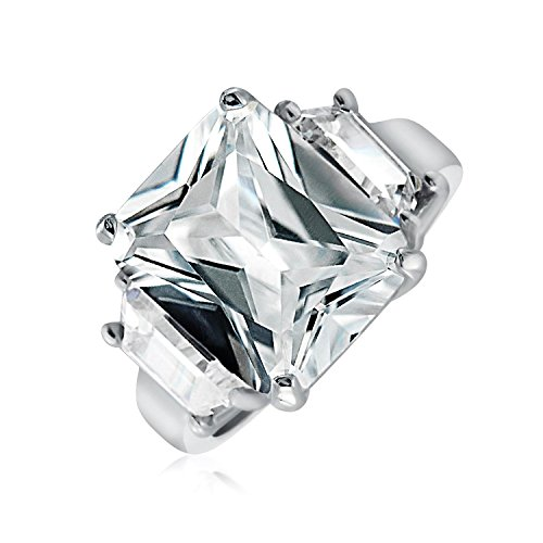 Art Deco Style 925 Sterling Silver 5CT AAA CZ Rectangle Emerald Cut Statement Engagement Ring Baguette Side Stones (Baguette Ring Sides)