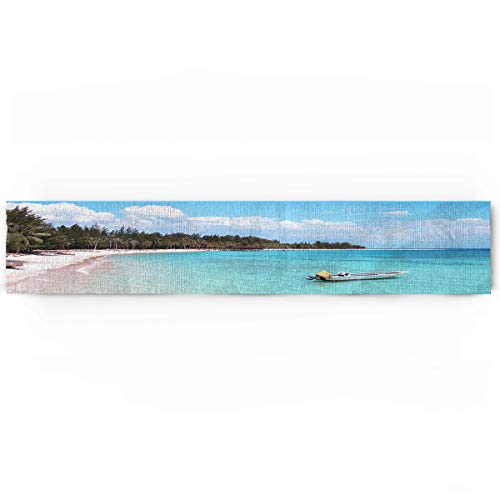 KAROLA Dining Table Runner Dresser Scarf,Tropical Sea Bali Island Beach Modern Table Runner for Kitchen Wedding Party Office Decor,Rectangular 18 x 72 Inches