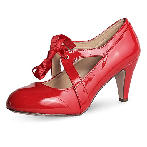 (Chase & Chloe Kimmy-62 Women's Vintage Bow Mary Jane High Heel Pump (9 M US, Red Patent))