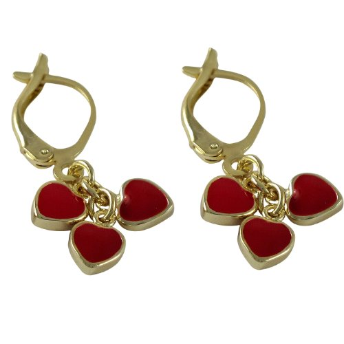 Ivy and Max Gold Finish 3 Dangling Red Enamel Hearts Girls Lever-back Earrings