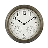 "BACKYARD EXPRESSIONS PATIO · HOME · GARDEN 914936 16"" Metal Indoor/Outdoor Weather Monitoring Clock, Rustic Brown"