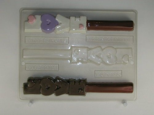 - Vertically stacked L-O-V-E w/heart decorations pretzel rod V180 Valentine's Day chocolate candy mold