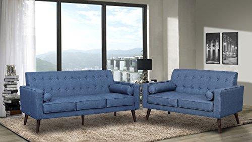 US Pride Furniture S5301-2PC Donna Fabric Sofa Set 2-Piece, Ocean Blue