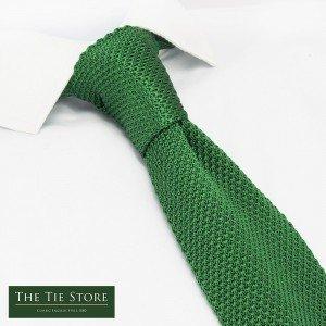 The Cufflink Store Corbata de seda de punto verde esmeralda con ...
