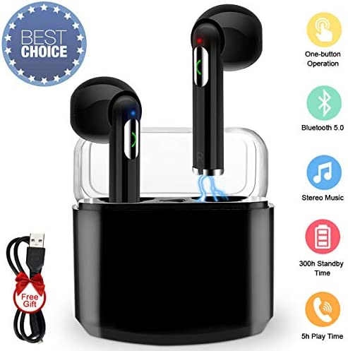 Wireless Earbuds,Bluetooth Earbuds Wireless Earphones Stereo Wireless Earbuds with Microphone Charging Case Bluetooth in Ear Earphones Sports Earpieces Compatible iOS Samsung Android Phones Black