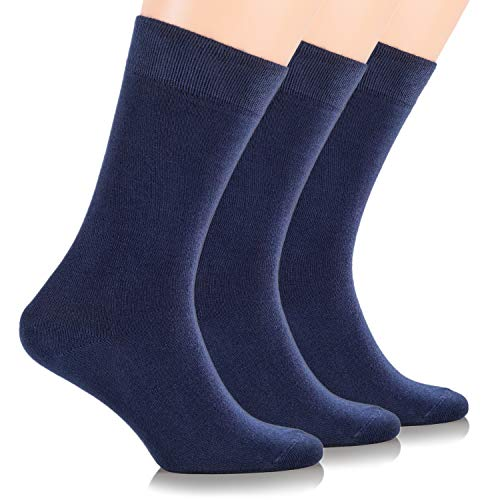 - Ruby Slippers Women's 3 Pack Business Casual Crew Length Bamboo Dress Socks (9-12, Navy Blue)
