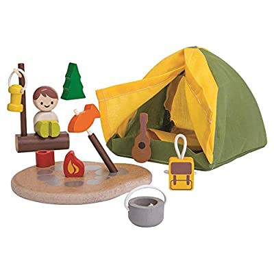 PlanToys Pretend Play Camping Set (6624) | Sustainably Made from Rubberwood and Non-Toxic Paints and Dyes: Toys & Games