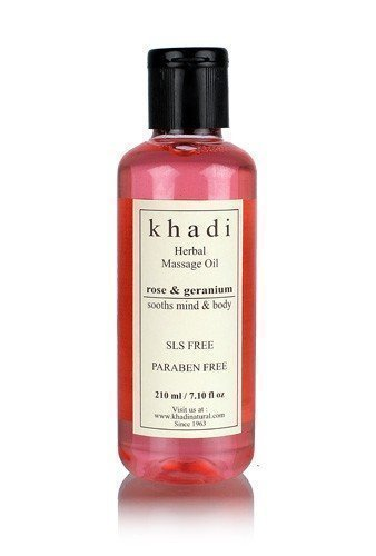 Khadi Rose & Geranium Massage Oil (Sooths Mind & Body)- without Mineral Oil - 210 ml ()