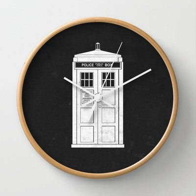 White Tardis Clock