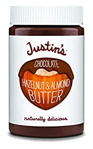 Justin's Chocolate Hazelnut & Almond Butter, Organic Cocoa, No Stir, Gluten-free, Responsibly Sourced, 16oz Jar