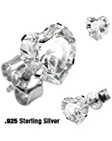 Pair of .925 Sterling Silver Stud Earring w/Clear Heart Shaped 5 MM Cubic Zirconia