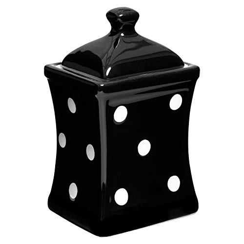 (City to Cottage Handmade Black and White Polka Dot Small 5.3oz/150ml Ceramic Kitchen Herb, Spice, Storage Jar with Lid, Pottery Canister, Housewarming Gift)