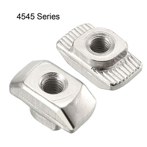 Nickel Plated Carbon Steel M5 Half Round Roll in T-nut for 4545 Series Aluminum Extrusion Profile Pack of 20 T-Slot Slot Nuts