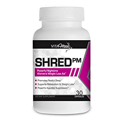 Vitamiss Shred PM - Maximum Strength Night-time Stimulant Free Fat Burner and Sleep Supplement for Women