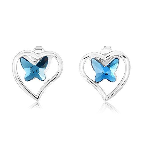Heart Butterfly Sterling Silver Earrings - Jewelry Stud Women / Girls (Silver Butterfly Heart)
