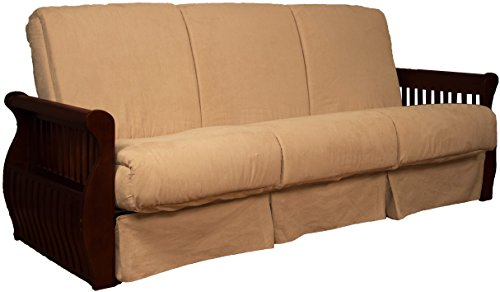 Laguna Perfect Sit & Sleep Pocketed Coil Inner Spring Pillow Top Sofa Sleeper Bed, Queen-size, Mahogany Arm Finish, Microfiber Suede Khaki Upholstery