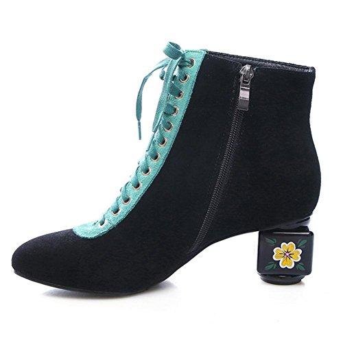 Cuero Side la BLACK NSXZ genuino gray 34 las 37 Scrub de de High mujeres manera Boots Heeled Zipper UHRdqB