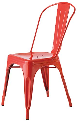 Mod Made Mid Century Industrial Tolic Metal Chair, Red (Cheap Plastic Outdoor Chairs)