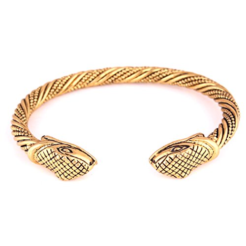 - FAIRY ELVEN Viking Fenrir Snake Head Twisted Wire Cable Bangle Cuff Bracelet Arm Ring Pagan Beast Wristband Jewelry For Mens
